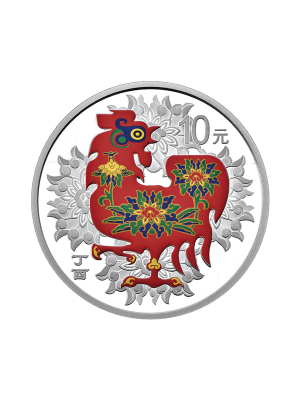 China Rooster 30gm 999 Fine Silver Proof Coin (With Colour)