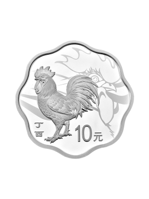 China Rooster Blossom-Shaped 30gm 999 Fine Silver Proof Coin