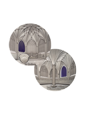 Tiffany Art - Wells Cathedral 2oz 999 Fine Silver Coin with Stained Glass