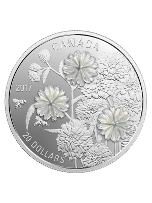 2017 Pearl Flowers 1oz 999.9 Fine Silver Proof Coin