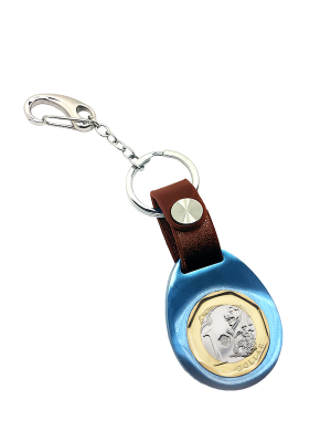 TS $1 Coin Blue Keyring II with Brown Leather Strap