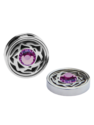 February Amethyst Birthstone Interchangeable Cufflinks Charm