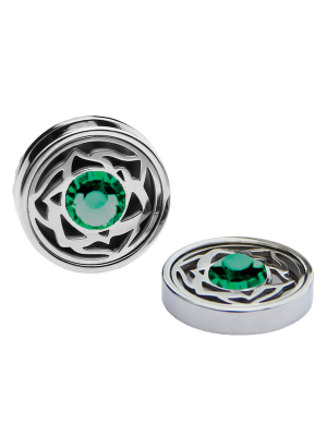 May Emerald Birthstone Interchangeable Cufflinks Charm