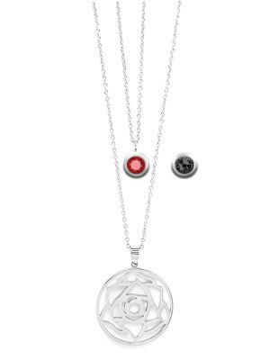 January Birthstone Interchangeable Charm - Double Layered Necklace Set