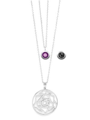 February Birthstone Interchangeable Charm - Double Layered Necklace Set