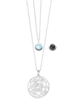 March Birthstone Interchangeable Charm - Double Layered Necklace Set