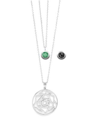 May Birthstone Interchangeable Charm - Double Layered Necklace Set