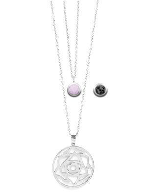 June Birthstone Interchangeable Charm - Double Layered Necklace Set
