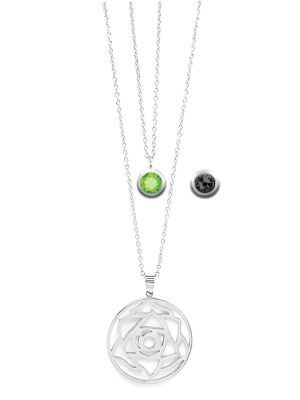 August Birthstone Interchangeable Charm - Double Layered Necklace Set
