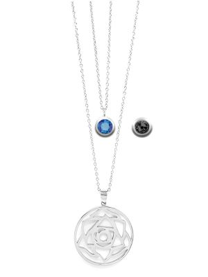 September Birthstone Interchangeable Charm - Double Layered Necklace Set