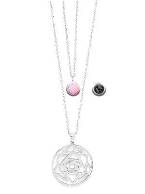 October Birthstone Interchangeable Charm - Double Layered Necklace Set