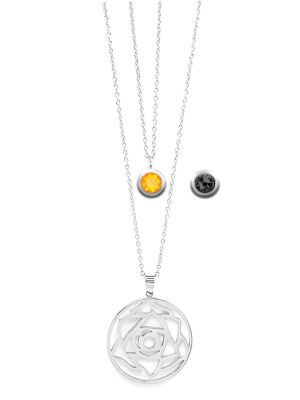 November Birthstone Interchangeable Charm - Double Layered Necklace Set