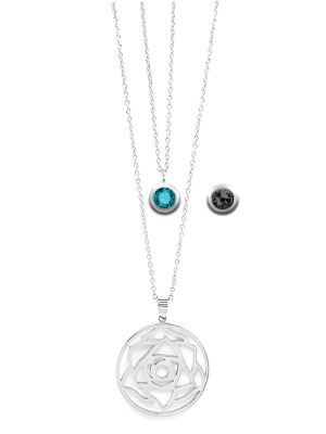 December Birthstone Interchangeable Charm - Double Layered Necklace Set