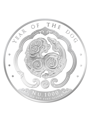 Bhutan Lunar Dog 5 oz 999 Fine Silver Proof Colour Coin