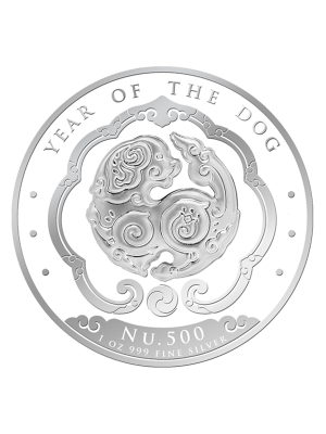 Bhutan Lunar Dog 1 oz 999 Fine Silver Proof Colour Coin