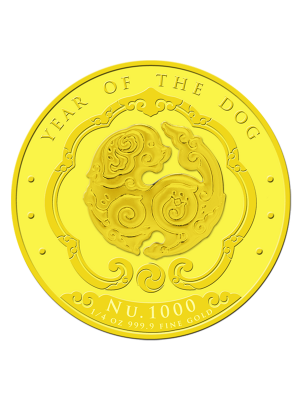 Bhutan Lunar Dog 1/4 oz 999.9 Fine Gold Proof Colour Coin