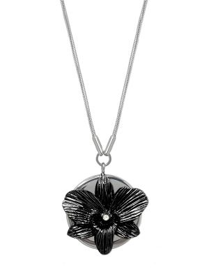 Orchid Pendant Necklace - Classic Black