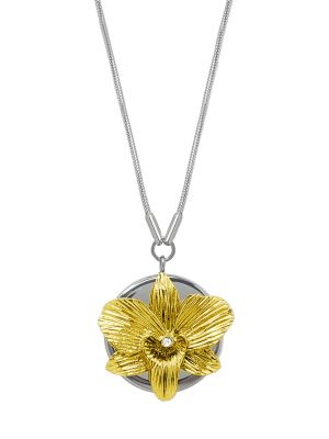 Orchid Pendant Necklace - Gold
