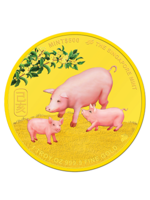 The Singapore Mint Lunar Boar 1 oz 999.9 Fine Gold Proof Colour Medallion