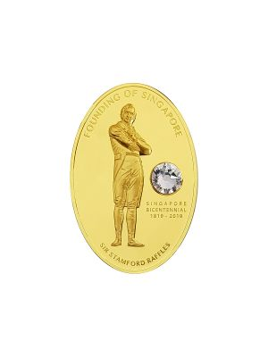 Sir Stamford Raffles ½ oz 999.9 Fine Gold Proof Medallion with Swarovski Crystal