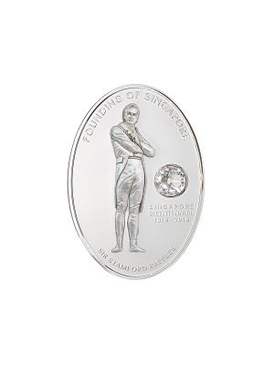 Sir Stamford Raffles 1 oz 999 Fine Silver Proof Medallion with Swarovski Crystal