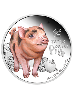Tuvalu Baby Pig 1/2oz 999 Fine Silver Proof Colour Coin