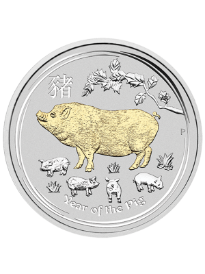 Australia Year of the Pig 1oz 999 Fine Silver Gold Gilded Coin