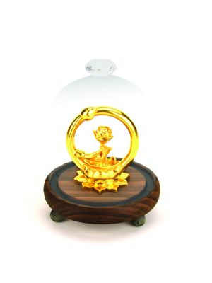 Golden Lotus Flower in Glass Dome