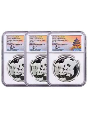 2019 Panda 999 Fine Silver 3-Coin Set (NGC Graded MS70)