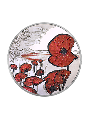 2015 Remembrance Day Alderney 925 Silver Proof Colour Coin