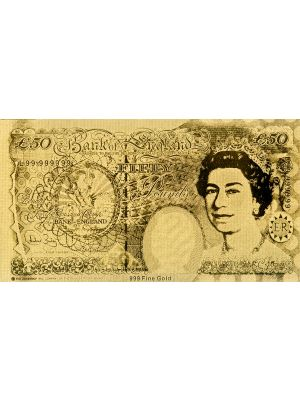 UK50 Embossed Gold Foil Banknote