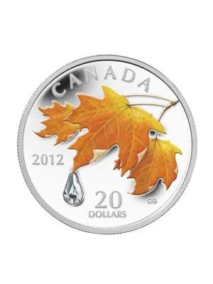 The Sugar Maple With Raindrop Swarovski Crystal 999 Silver Proof Coin