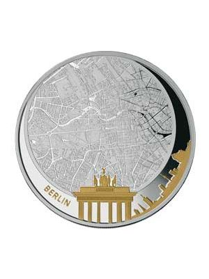 Berlin 2 oz 999 Fine Silver Gold Gilded Proof Coin