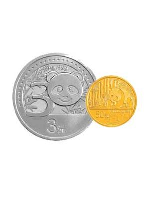 30th Anniversary of China Panda 1/10 oz 999.9 Fine Gold Proof Coin + 1/4 oz 999 Fine Silver Proof Coin Set