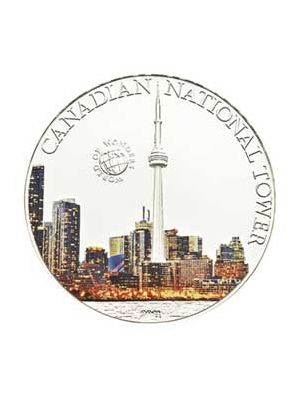 CN Tower Sterling Silver Proof Color Coin