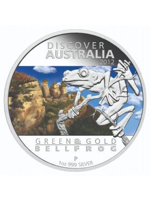 2012 Discover Australia - Green & Gold Bell Frog 1 oz 999 Fine Silver Proof Coin
