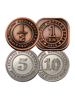 Straits Settlement Coin Pins Set