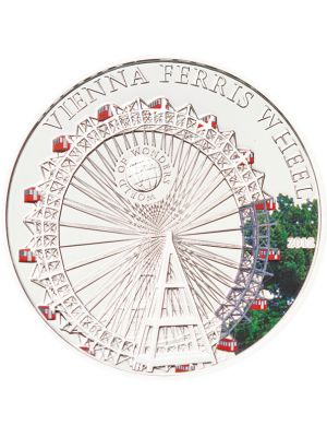 World Of Wonders - Vienna Ferris Wheel Sterling Silver Proof Colour Coin