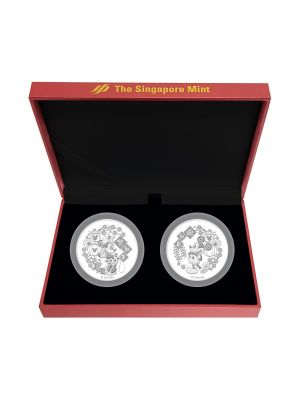 Mickey Minnie 2-in-1 Lunar New Year 999 Fine Silver Proof-Like Medallion Set