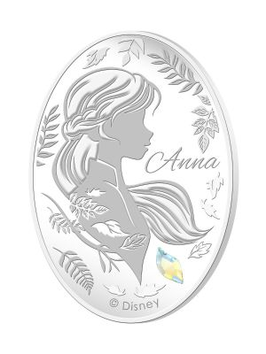 Anna 1oz 999 Fine Silver Proof Medallion with Leaf Shaped Swarovski Crystal