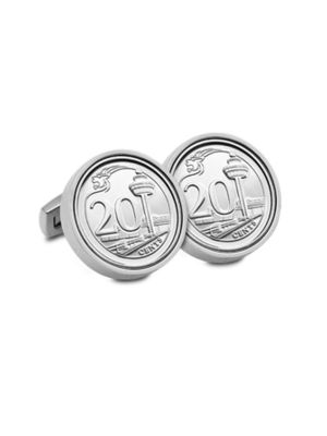 Singapore Third Series 20-cent Coin Cuff-links (Chrome-plated)
