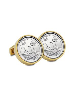 Singapore Third Series 20-cent Coin Cuff-links (Gold-plated)