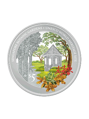 Singapore Botanic Gardens UNESCO World Heritage Site 1 Troy oz 999 Fine Silver Proof Colour Coin