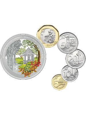 Singapore Botanic Gardens UNESCO World Heritage Site 1 Troy oz 999 Fine Silver Proof Colour Coin with Third Series Uncirculated Coin