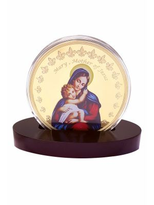 Mother Mary Gold Plated Medallion with Stand