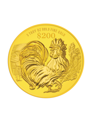 2017 Singapore Lunar Rooster 5 troy oz 999.9 Fine Gold Proof Coin