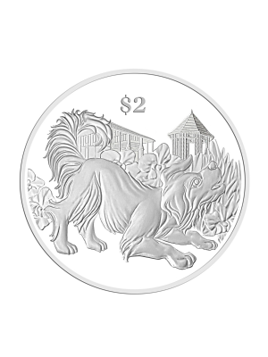 2018 Singapore Lunar Dog Nickel-Plated Zinc Proof-Like Coin