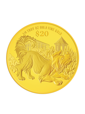 2018 Singapore Lunar Dog 1/4 troy oz 999.9 Fine Gold Proof Coin