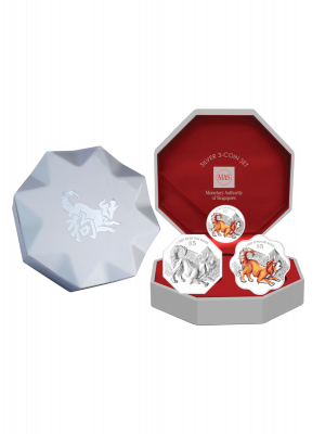 2018 Singapore Lunar Dog Silver 3-Coin Set