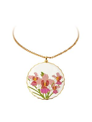 Vanda Miss Joaquim Pendant Necklace - Gold-plated with White Enamel